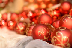 Pile of red Christmas balls Stock Photo