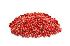 Pile of red cowberry isolated on white background. Pile of red wild cowberry isolated on white background Stock Photo