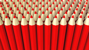 A pile of red 3d crayon on a white background Stock Photo