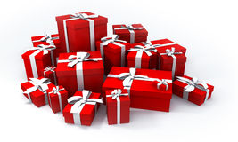 Pile of red gift boxes. With white ribbons royalty free illustration