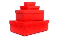 Pile of red gift boxes Stock Photos