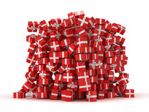 Pile of red gift boxes with presents Royalty Free Stock Photography