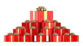 Pile of red gift boxes with presents Royalty Free Stock Photo