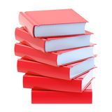 Pile of red glossy books isolated Stock Image