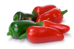 Pile of red and green Jalapeno Peppers Stock Photos