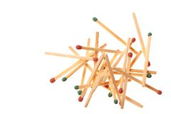 Pile of red and green wooden matches on white background Stock Photography