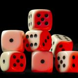 Pile of red illuminated white dice Stock Photography
