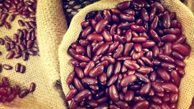 Pile of Red Kidney Beans in Small Woven Sack Stock Photography