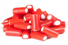 Pile of red licorice sticks Stock Photos