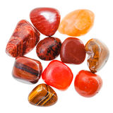 Pile of red and orange natural mineral gemstones Stock Photography
