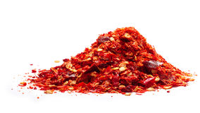 Pile of red pepper flakes, paths Royalty Free Stock Photos