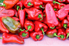 Pile of red peppers, close up Stock Images