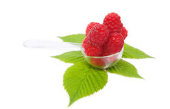 Pile of red raspberries. Isolated on white background Royalty Free Stock Photo