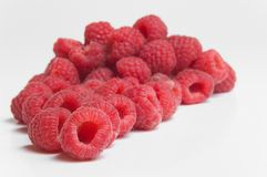 Pile of red raspberries Stock Images