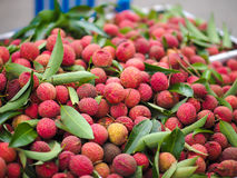Pile of red Thai lychees at Thailand's fruit festival 2017. A pile of lychees at fruit market during the fruit festival 2017 Stock Images