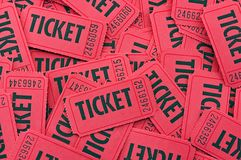 Pile of Red Tickets - Close Up Horizontal Royalty Free Stock Photography