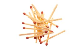 Pile of red wooden matches on white background Royalty Free Stock Photos