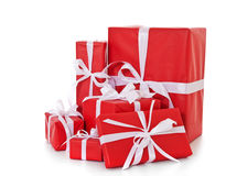 Pile of red wrapped presents Royalty Free Stock Photography