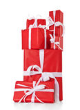 Pile of red wrapped presents Stock Photography