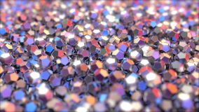 Multiple metallic cryctals reflecting red and blue colors. 3D rendering. Pile of regular dodecahedron pieces made of metal Stock Images