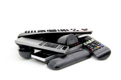 Pile of Remotes. Pile of electronic remote controllers Royalty Free Stock Photos