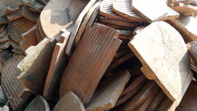 Pile of retired old roof tile in renovation site Stock Image