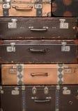 pile of retro suitcases stock photo