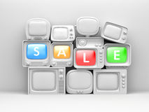 Pile of retro TV with word SALE on their screen Stock Images