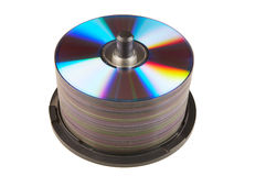 A pile of rewritable dvd's. On a white background Stock Image