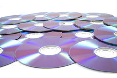 Pile of rewrittable dvd's Royalty Free Stock Image