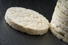 Pile of rice crackers. On the gray background Stock Photography