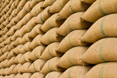 Pile of rice sacks. Royalty Free Stock Photos