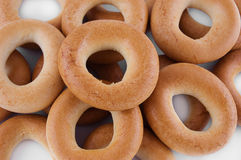 Pile of ring bagels. As background Stock Image