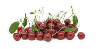 Pile of ripe cherry on white background Stock Photography
