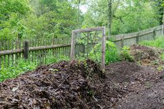 Pile with ripe compost. And sieve Royalty Free Stock Image