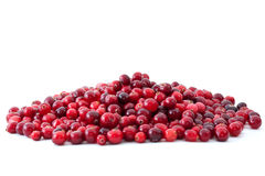 Pile of ripe cranberries. Isolated on the white background Royalty Free Stock Photos