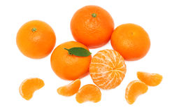 Pile of ripe mandarins (isolated) Royalty Free Stock Photography