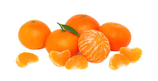 Pile of ripe mandarins on white background Royalty Free Stock Photo