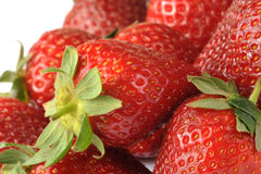 strawberries. Pile of ripe red strawberries, white background Stock Photo