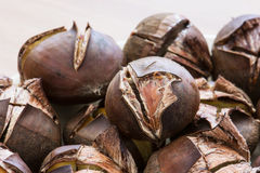 Pile of roasted chestnuts Royalty Free Stock Photos