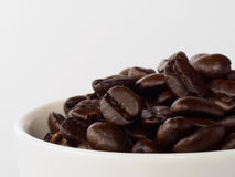 Pile of roasted coffee beans in cup. On white background Stock Image
