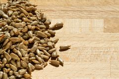 Pile of roasted and salted sunflower seeds stock photo