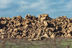 A pile of rock fragments. In field royalty free stock photography