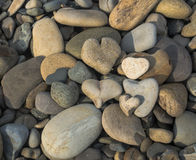 Pile of rocks. A pile of rock shaped hearts on the beach with other river rocks Royalty Free Stock Photography