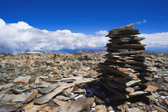 Pile of rocks stone in mountains. Pyramid of stones. Altay Russia Stock Images