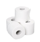 Pile rolls of toilet paper isolated on white Stock Image