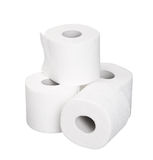 Pile rolls of toilet paper isolated on white Stock Photo