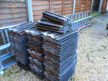 Pile of roofing slates or tiles. Royalty Free Stock Images