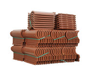 Pile of roofing tiles packaged. Royalty Free Stock Image