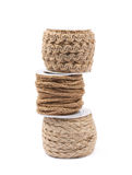 Pile of rope bobbins isolated Stock Photos